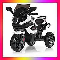 Детский электро-мотоцикл BMW на аккумуляторе с кожаным сиденьем на мягких EVA колесах. M 3986 белый