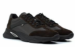 Кроссовки мужские кожаные коричневые нубук вставки обувь больших размеров Rosso Avangard DolGa Brown Floto BS