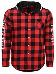 Рубашка мужская с капюшоном в красную клетку Glo-Story