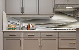 Виниловый кухонный фартук Линии Абстракция 3Д (наклейка для кухни ПВХ пленка скинали) Линии шелк 600*3000 мм