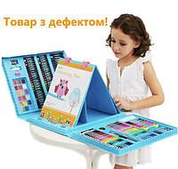 Товар з дефектом! Детский набор для творчества с мольбертом 208 предметов в чемоданчике, голубой
