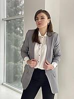 Женский удлиненный пиджак casual черный и серый, фото 1