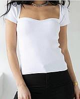 Базовая футболка Топ в рубчик с широким декольте