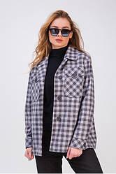 Пальто-рубашка женское шерстяное в клетку, Флоранс| 42, 44, 46, 48 размеры