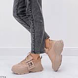 ТІЛЬКИ 40,41 р!!! Жіночі коричневі кросівки на підошві 6 см еко-шкіра, фото 4
