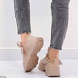 ТІЛЬКИ 40,41 р!!! Жіночі коричневі кросівки на підошві 6 см еко-шкіра, фото 6