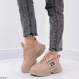 ТІЛЬКИ 40,41 р!!! Жіночі коричневі кросівки на підошві 6 см еко-шкіра, фото 5