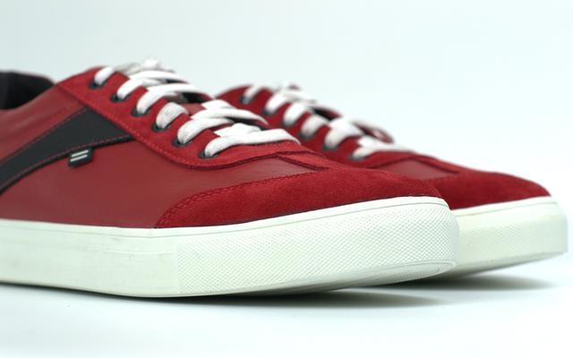Кроссовки мужские красные кожа и замшевые вставки обувь больших размеров Rosso Avangard DolGa RED White TPR BS
