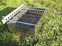Разборной мангал Шашлычница ПП-3 электрическая со стационарными кронштейнами (ленивый шашлычник)