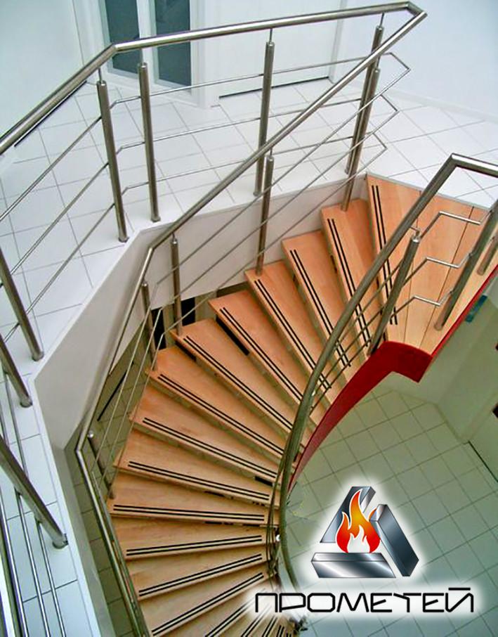 Перила для винтовой лестницы из нержавейки с монтажом AISI 304, поручень Ø50 мм, стойка Ø42 мм, ригель Ø16 мм