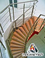 Перила для винтовой лестницы из нержавейки с монтажом AISI 304, поручень Ø50 мм, стойка Ø42 мм, ригель Ø16 мм, фото 1