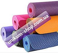 Коврик для йоги и фитнеса (йога мат) / Коврик для йоги и фитнеса TPE (йога мат, каремат спортивный)