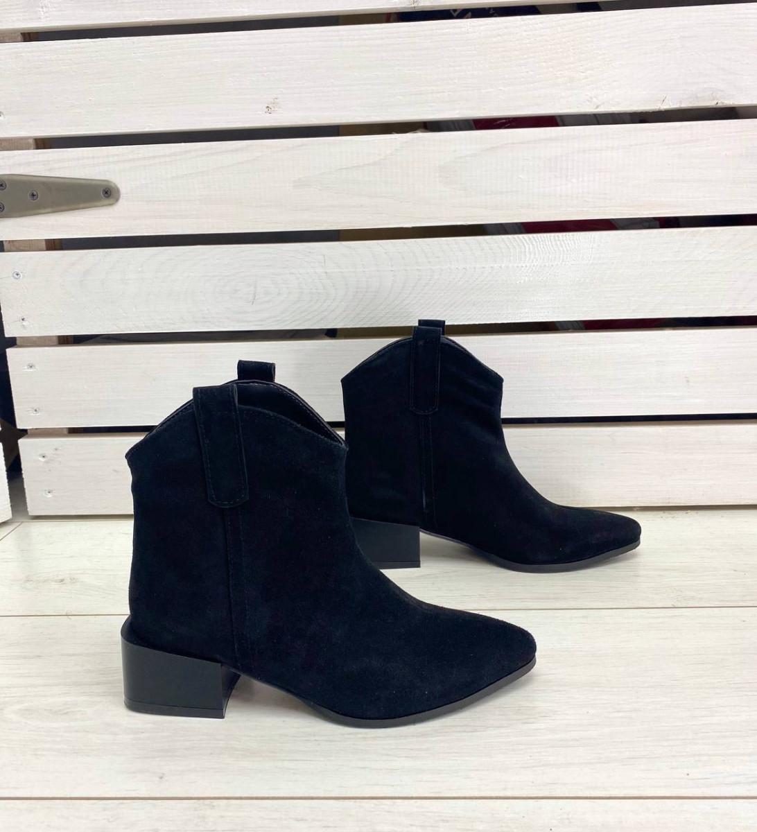 Ботильоны женские замшевые черные на небольшом каблуке