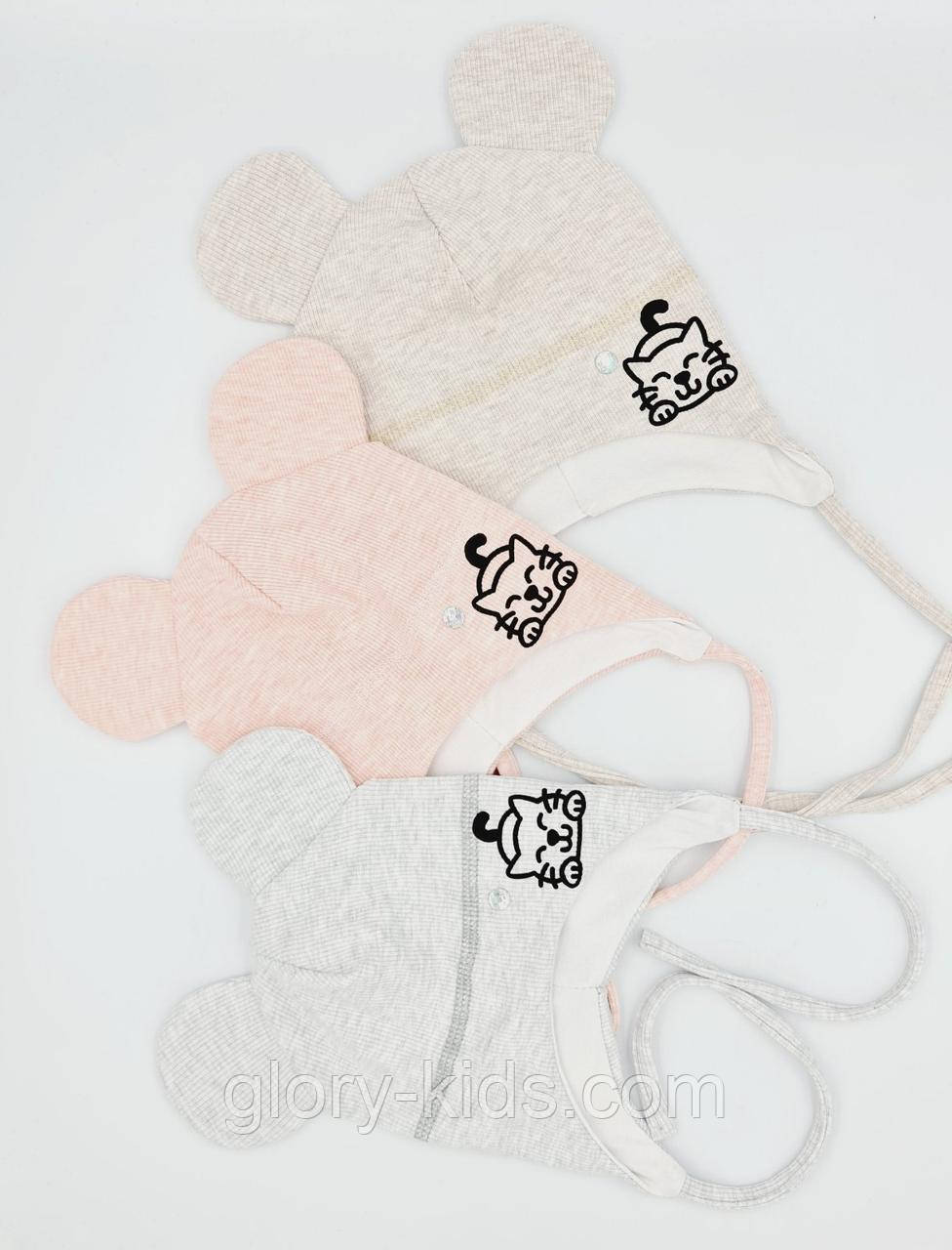 """Дитяча трикотажна шапочка з принтом на зав'язочках """"котик"""" 42-44 р код 3125"""
