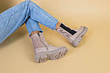 Ботинки женские замшевые бежевые с кожаной вставкой, деми, фото 6