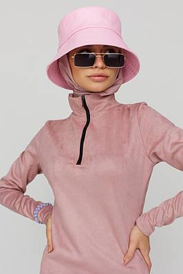 Женская розовая панама из экокожи