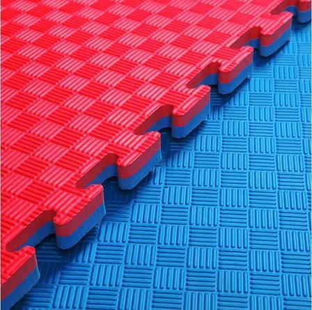 Татами мат (ласточкин хвост пазл) EVA 1х1м толщина 20 мм 80 кг/м3 (красно-синий), фото 2