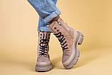 Ботинки женские замшевые бежевые с кожаной вставкой, демисезонные, фото 2