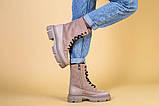 Ботинки женские замшевые бежевые с кожаной вставкой, демисезонные, фото 3