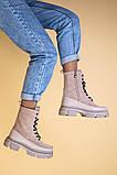 Ботинки женские замшевые бежевые с кожаной вставкой, демисезонные, фото 4