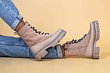 Ботинки женские замшевые бежевые с кожаной вставкой, демисезонные, фото 5