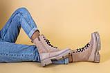 Ботинки женские замшевые бежевые с кожаной вставкой, демисезонные, фото 6