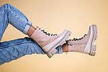 Ботинки женские замшевые бежевые с кожаной вставкой, демисезонные, фото 7