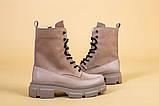 Ботинки женские замшевые бежевые с кожаной вставкой, демисезонные, фото 9