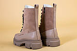 Ботинки женские замшевые бежевые с кожаной вставкой, демисезонные, фото 10