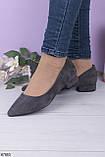 Женские туфли серые на каблуке 3 см эко-замша, фото 2