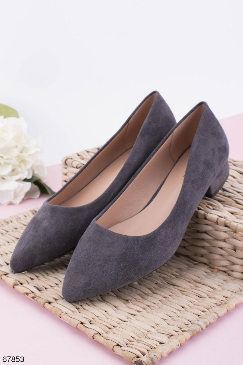 Женские туфли серые на каблуке 3 см эко-замша