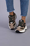 Кросівки жіночі замшеві колір хакі з вставками з сітки, фото 3