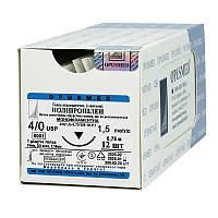 Полипропилен монофиламентный USP (EP) : 4/0 (1,5), 0,75м, режущая иголка 24 мм 3/8, шовный материал, OPUSMED