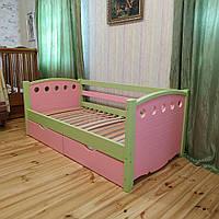 """Односпальная кровать """"Тахта"""" - Анри розово-зеленая, массив ольхи"""
