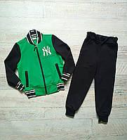 Спортивный весенний костюм малютка для мальчика темно-синий+зеленый
