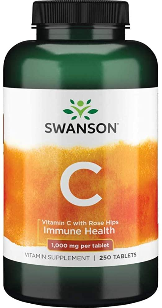 Swanson Vitamin C with Rose Hips 1,000 mg, Витамин С (250 капс.)