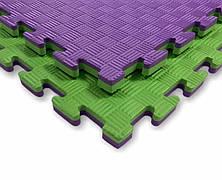 Татами мат (ласточкин хвост пазл) EVA 1х1м толщина 20 мм 80 кг/м3 (фиолетово-зеленые)