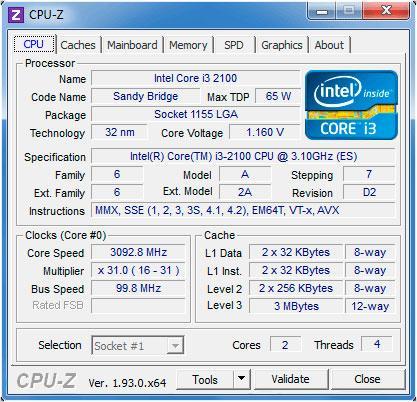 intel core i3 2100 cpu 3.10 ghz - cpu-z