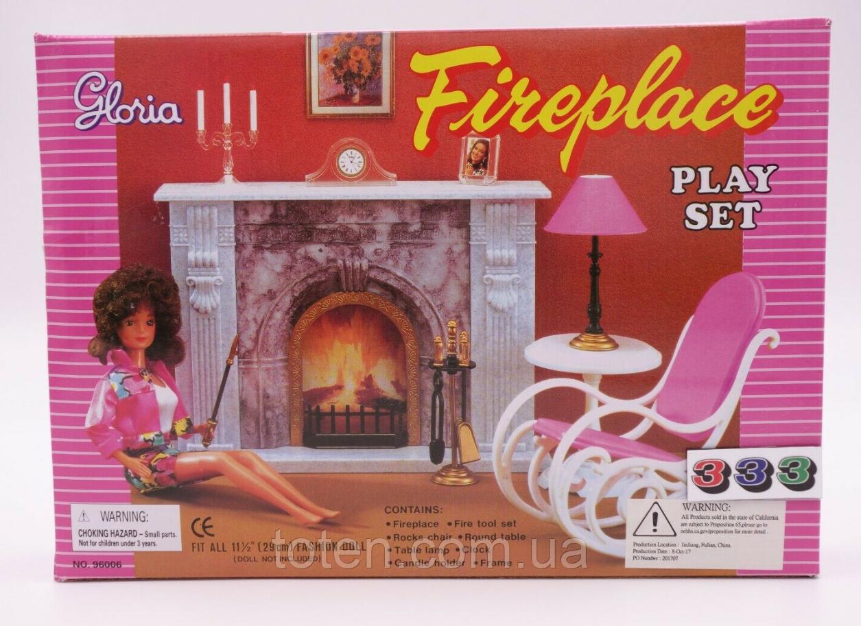 """Набір лялькової меблів Gloria 96006 """"Камін"""", крісло, столик, лампа"""