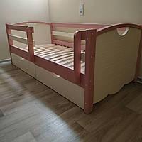 """Односпальная кровать """"Тахта"""" - Белла кремово-розовая, массив ольхи"""