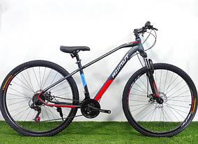"""Підлітковий гірський велосипед Azimut Gemini 24 розмір рами 15"""" сіро-червоний"""