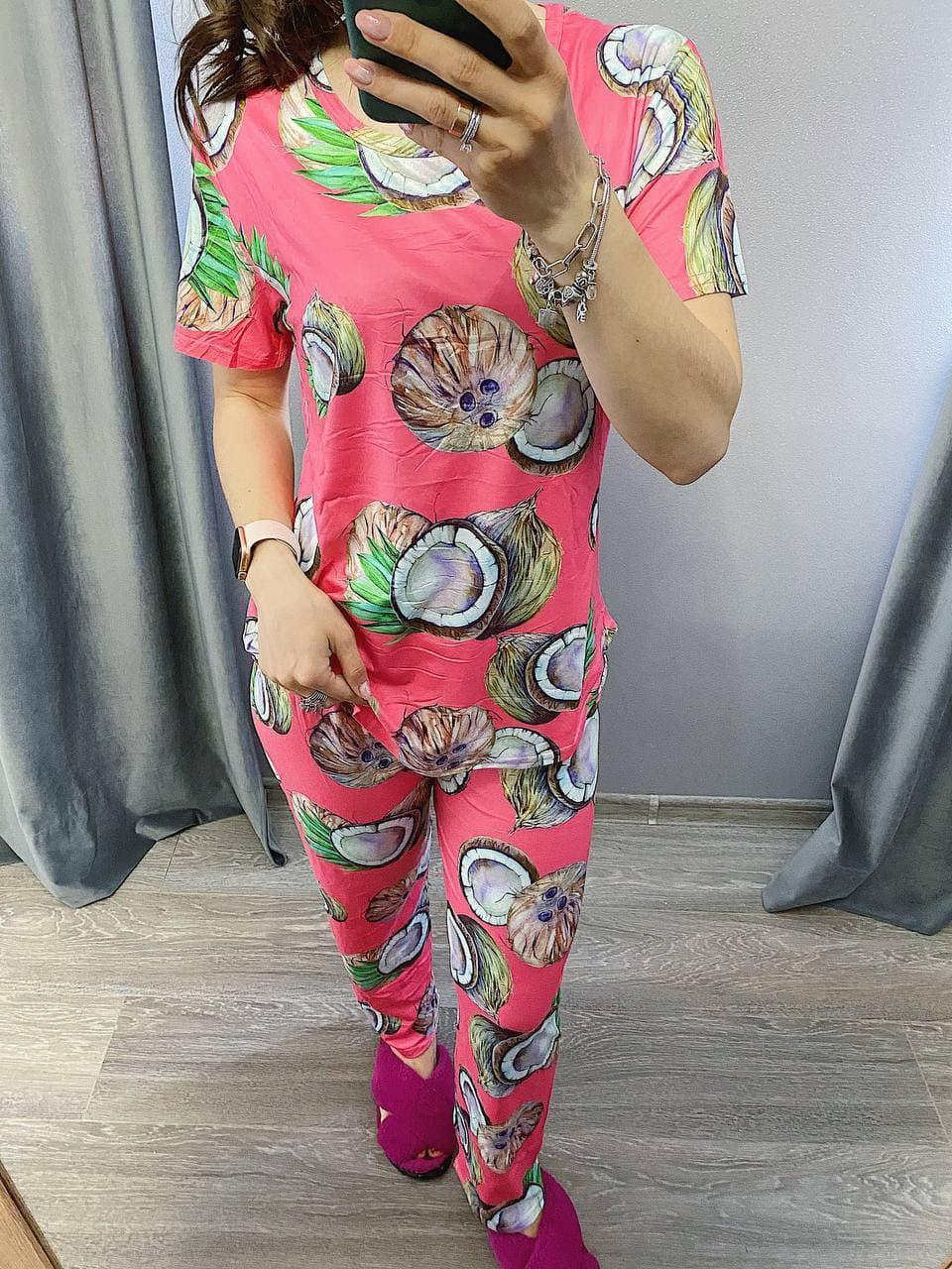 Пижама Трикотажная Футболка и  штаны Кокос кораловый