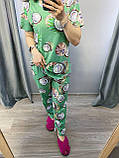 Піжама Трикотажна Футболка і штани Авокадо на фіолетовому, фото 3