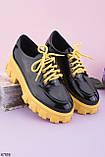 Жіночі туфлі - броги чорні з жовтим на платформі еко лак, фото 2