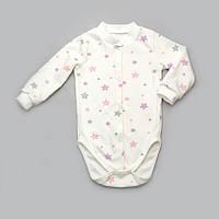 Комбинезон-боди для девочки Звездочка Модный карапуз 301-00056 молочный с розовым 62