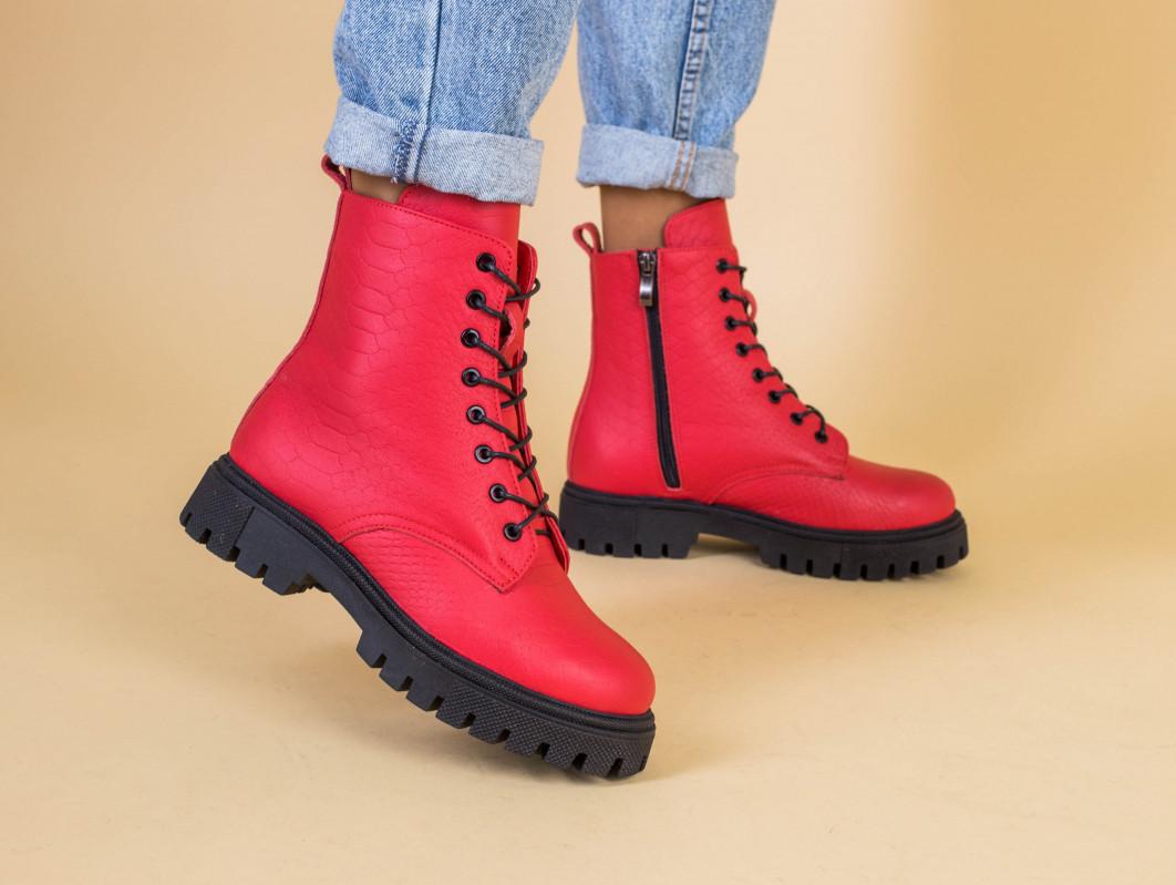 Ботинки женские кожа питон красные демисезонные