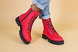 Ботинки женские кожа питон красные демисезонные, фото 2