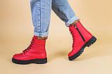 Ботинки женские кожа питон красные демисезонные, фото 3