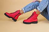 Ботинки женские кожа питон красные демисезонные, фото 4