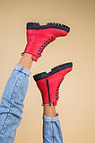 Ботинки женские кожа питон красные демисезонные, фото 5